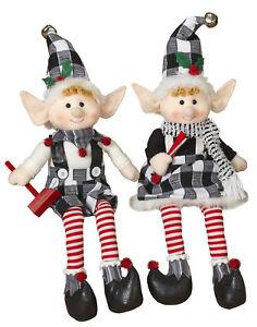 White-Plaid-Large-Christmas-Elf-Elves-Shelf-Sitters-Figurines-Dolls-Set-Decor