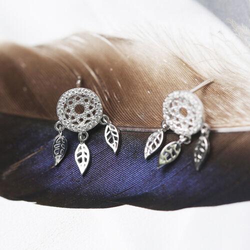 Traumfänger Dreamcatcher 3 Federn Ohrstecker Ohrring aus Sterling Silber 925