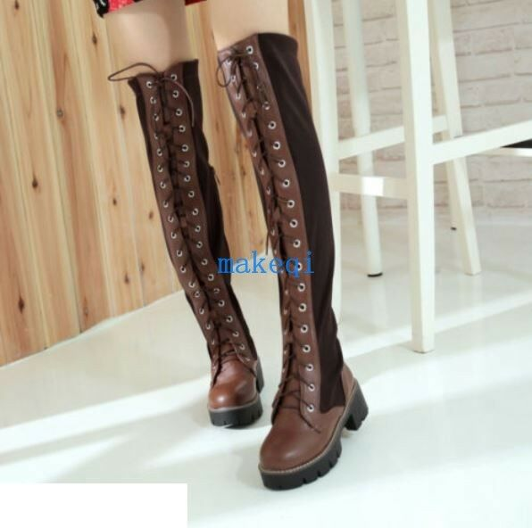 Womens Combat Gothic Round Toe Over The Knee Riding Boots Punk Lace-Up shoes New