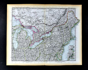 Details about 1892 Stieler Map New England York Boston Massachusetts United  States Canada