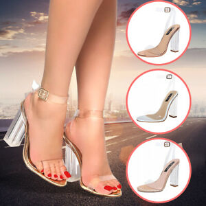 93026a9c42df Womens Lucite Clear Ankle Strap Block Chunky High Heel Transparent ...