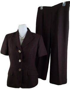 LE-SUIT-Woman-Size-8P-Petite-Brown-Pants-Suit-SS-Career-Office-Wear-Fully-Lined