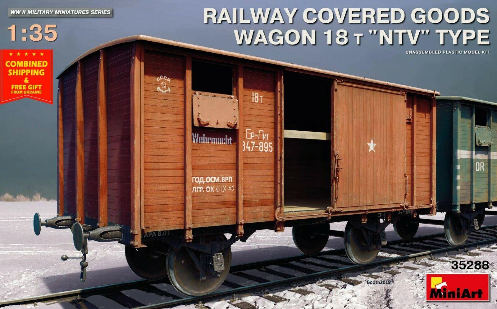 "Miniart 35288 - 1 35 -  RAILWAY COVERED GOODS WAGON 18t ""NTV"" TYPE World War II"