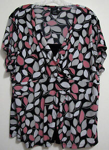 EAST-5th-1X-Black-Gray-Pink-Built-In-Cami-Top-Short-Sleeve-Polyester-Blouse