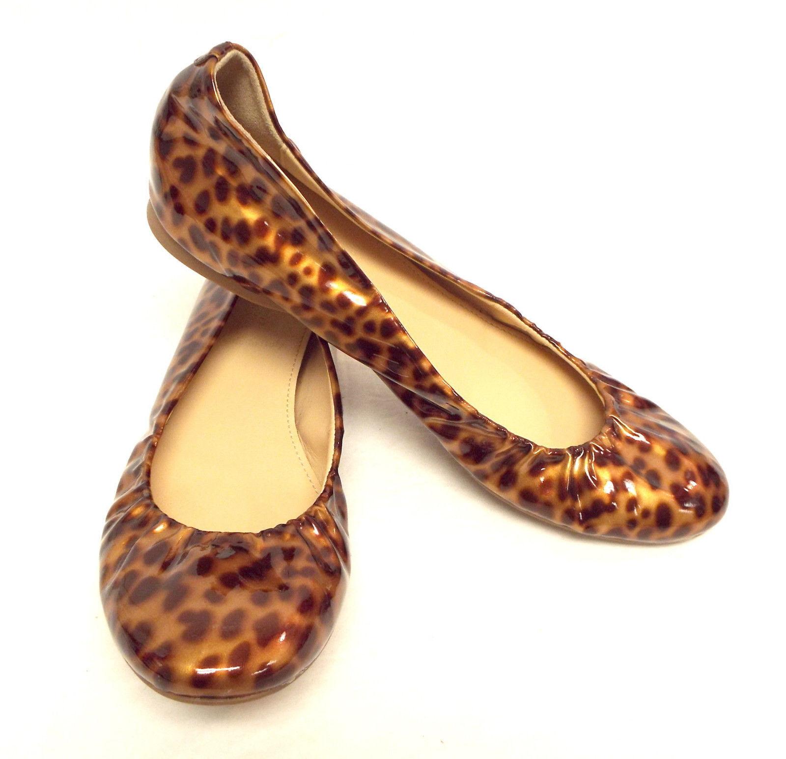J. Crew Talla 5.5 5.5 5.5 patente Leopardo Ballet Zapatos sin Taco 5 1 2  caliente