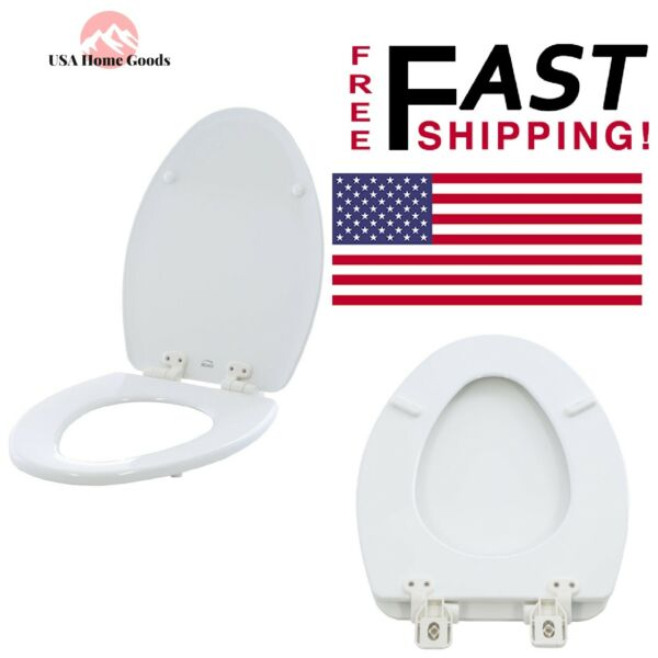 Diplomatisch White Elongated Closed Front Toilet Seat Adjustable Slow Close Never Loosens