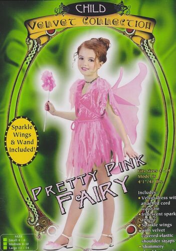 PINK FAIRY COSTUME Angel Glitter Girls Small Medium Wings Child Fancy Dress NEW