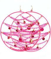 Pink Chain Hoop Earrings