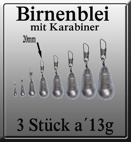 BIRNENBLEI LEAD 3 STÜCK a´13g BIRNEN-BLEI MIT KARABINER
