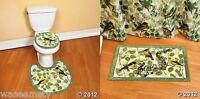 Green Blue Spring Songbird Bird Music Note Leaf 3 Bath Toilet Rug Mat Set Decor
