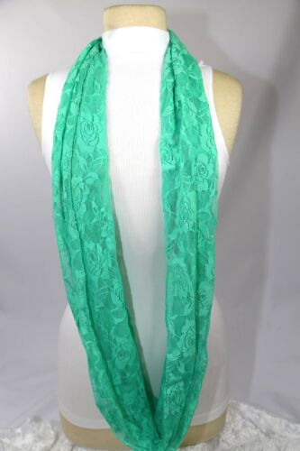 B35 Lace Infinity Scarf Green Teal Coral Black Pink White Feminine Soft Boutique