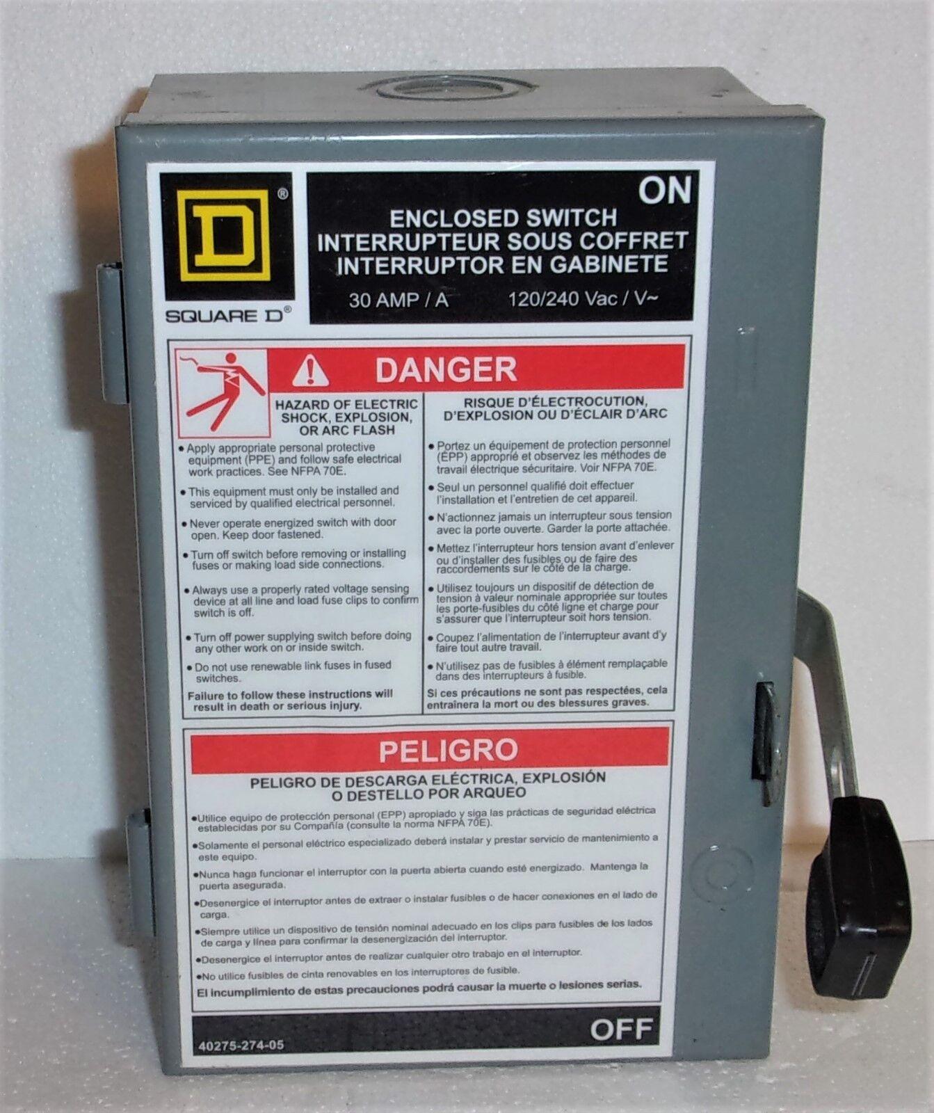 square d 30 amp fused 40275 274 05 enclosed switch 120 240vac