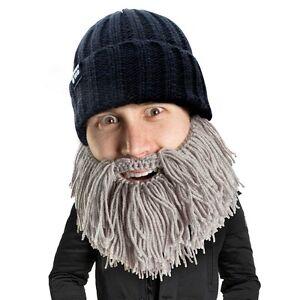 24aadb018 Details about Barbarian Vagabond - Beard Head - Short Grey Knitted Beard +  Black Beanie