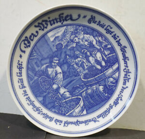 Hutschenreuther-Germany-Porcelain-Wall-Plate-034-Der-Winemaker-034-Dm-7-7-8in
