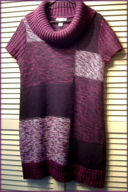 STYLE & CO Plum Purple Patchwork Acrylic Knit Sweater Dress Tunic (L) Career