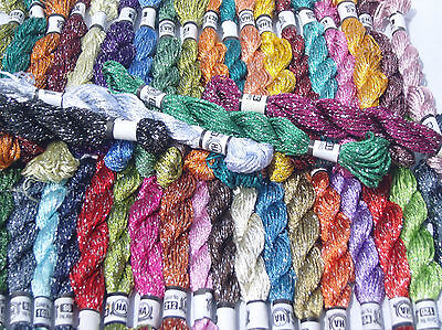 20 échevettes grande soie stranded multi couleur glitter twisted Threads Broderie