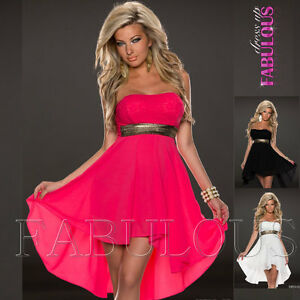 New-Sexy-High-Low-Mini-Dress-Strapless-Party-Formal-Cocktail-Size-6-8-10-XS-S-M