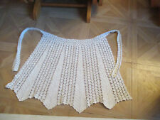 Vintage Hand Crocheted  White Lacy Apron