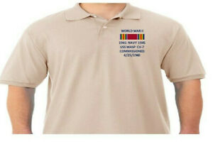 WW II RIBBON USS WASP CV-7 NAVY*EMBROIDERED POLO SHIRT/SWEAT/JACKET.