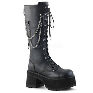 Demonia RANGER-303 Men's Black Punk Goth Chains Knee High Heel Platform Boots