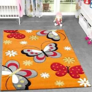 Détails sur Tapis Papillon Orange Gris Crème Chambre D\'Enfant Tapis  Butterfly Design