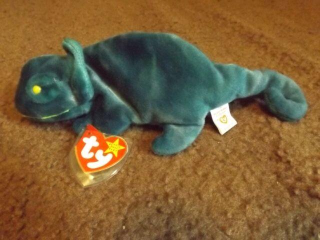 ea4c5542067 Ty Beanie Baby Rainbow blue chameleon w tag error 1997