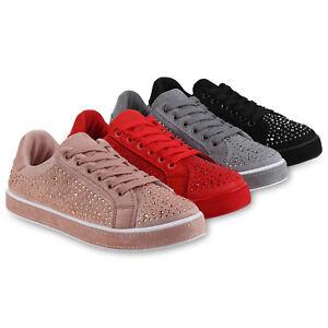 Damen Sneaker Low Glitzer Turnschuhe Schnürer Freizeit Schuhe 823943 Schuhe
