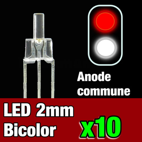 740//10 # 10pcs led bi-color common anode 2mm white-red-ideal digital