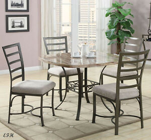 WHITE BLACK FAUX MARBLE SQUARE TOP GRAY METAL DINING TABLE SET EBay