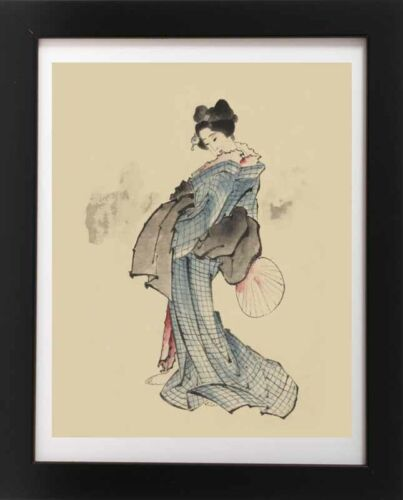 Antique Beautiful Japanese Woman /& Fan Kimono GEISHA Japan RP Fine Art Print