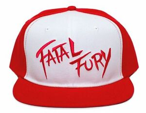 Embroidered Flat brim Fatal Fury Terry Bogard Red Cap Hat Andy King ... 3ef69d7b4101