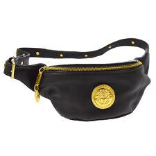ff9c9a6897 Authentic GIANNI VERSACE Medusa Bum Bag Waist Pouch Black Leather Vintage  A41179