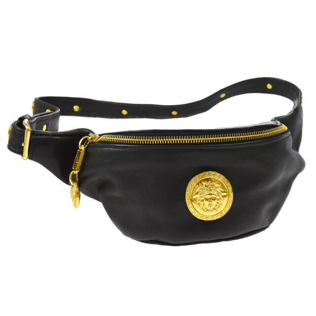 b38290f5 Details about Authentic GIANNI VERSACE Leather Belt Bag Gold Medusa Head  Black Vtg Fanny Pack