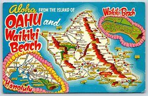 Aloha From Oahu 7 Waikiki Beach Honolulu Hawaii Islands Map View Chrome Postcard Ebay