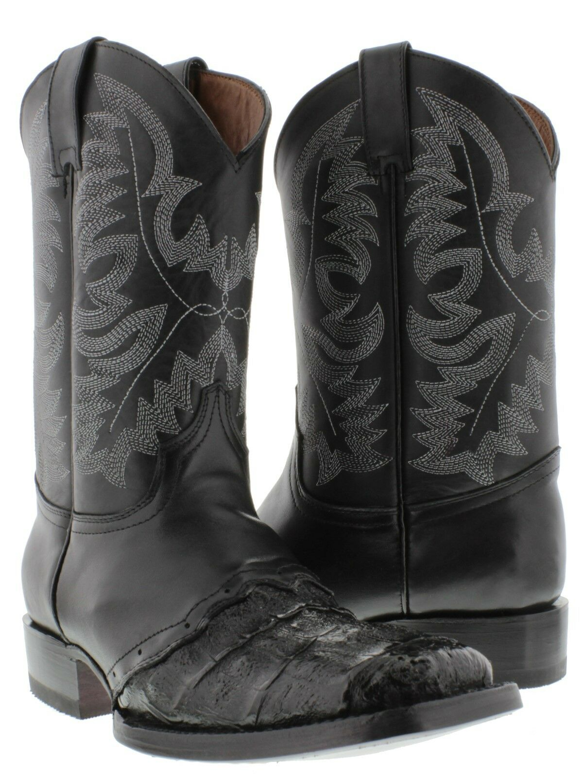 Men's All Real Crocodile Belly Work Style Leather Cowboy Boots Rodeo Square