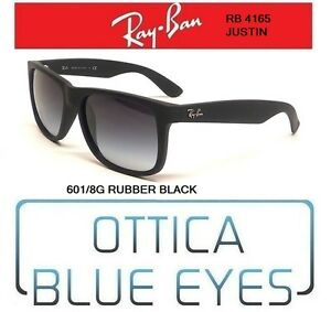 Occhiali-da-Sole-RAYBAN-JUSTIN-RB-4165-601-8G-BLACK-RUBBER-Ray-Ban-Sunglasses