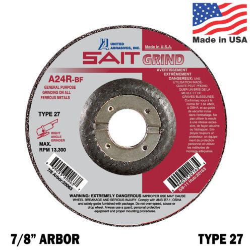 "United Abrasives SAIT 6/"" Diameter Type 27 Grinding Wheel 7//8/"" Arbor A24R-BF"