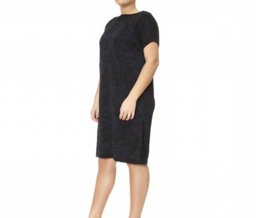 MARINA RINALDI Women/'s Black Generoso Subtle Printed Dress $590 NWT