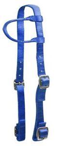 Showman-ROYAL-BLUE-Premium-Nylon-One-Ear-Western-Headstall-NEW-HORSE-TACK