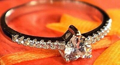 925 Sterling Silver Engaging/wedding/anniversary Ring Heart Love Diamond Ring QualitäT Zuerst