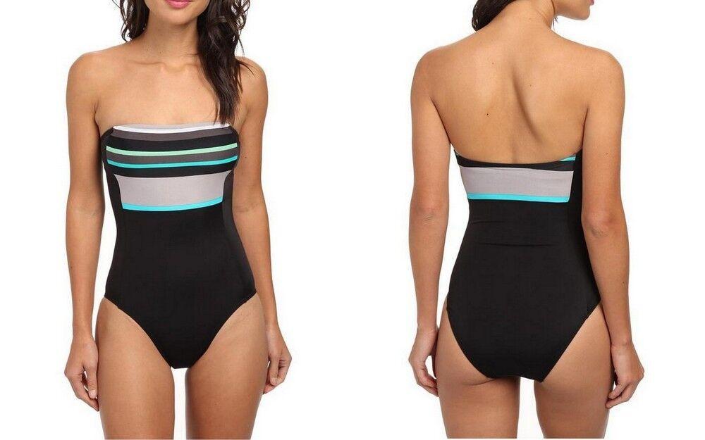 DKNY Swimsuit women Karan Women's Slip Stripe Bandeau Maillot 1-Piece, Dune Sz 4