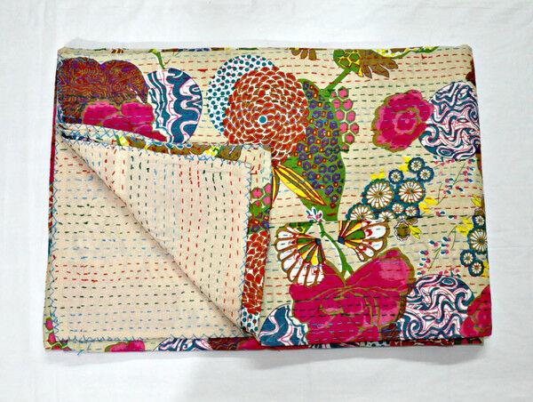 Fruit Handmade Kantha Quilt Indian Bedspread Throw Cotton Blanket Queen Size