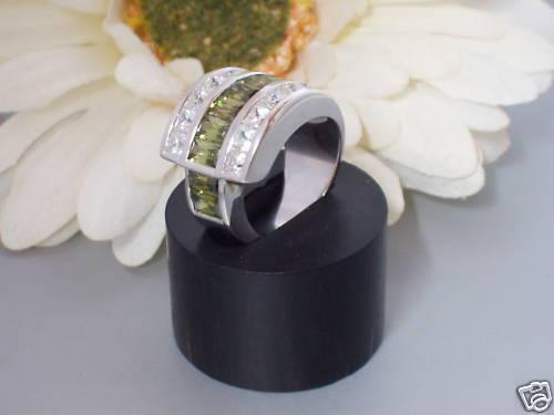 Echt 925 Silber Ring Zirkonia Peridot grün massiv breit Damen Frauen Bandring