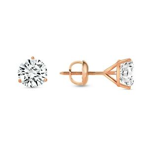1.25 Ct Round Cut Earrings Studs Solid Real 14K Rose Gold Screw Back Martini