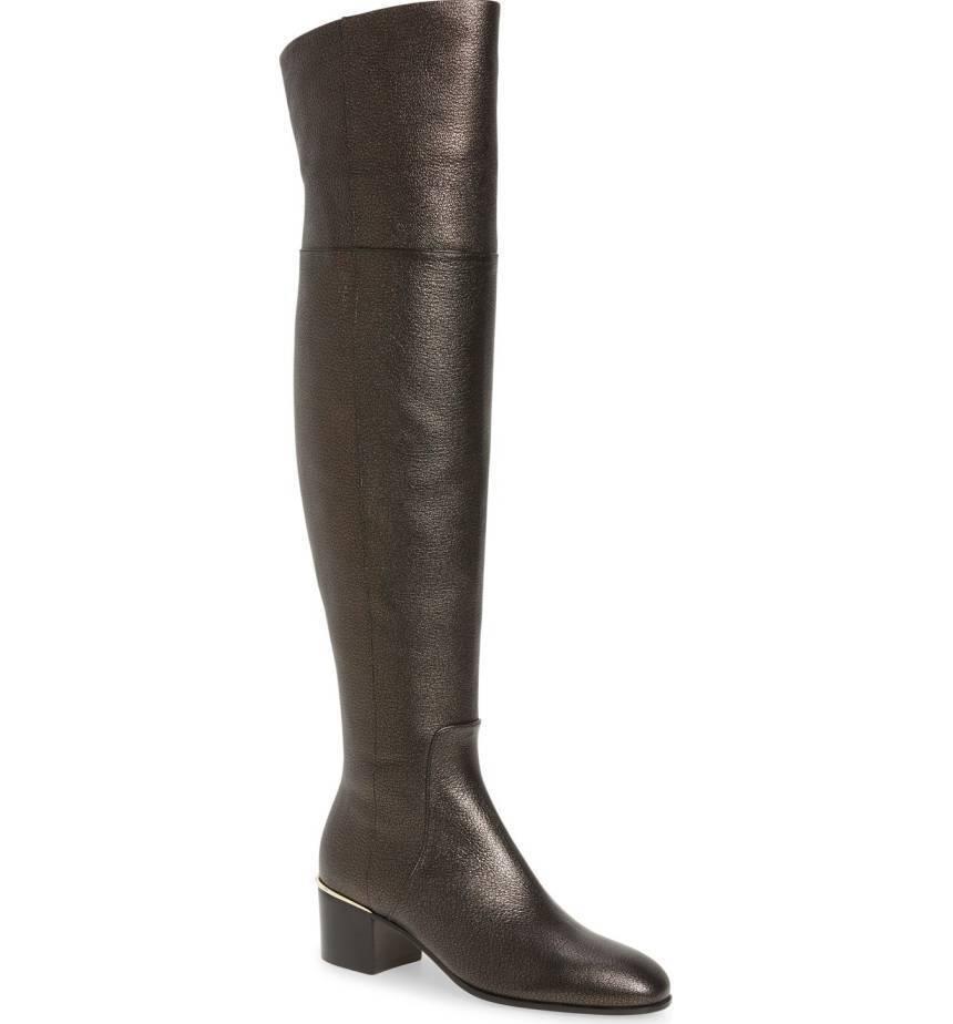 1495  Jimmy Choo Harmony Metallic Leather Over-The-Knee Boots  Booties 37- 6.5