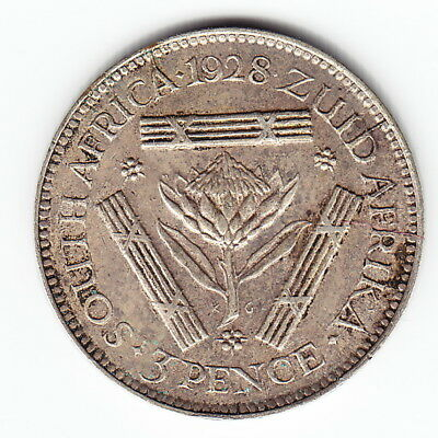 Africa Obliging South Africa 3 Pence 1928 Km15.1 Ag.800 Gv Above Average Minted 919,000 Scarce !