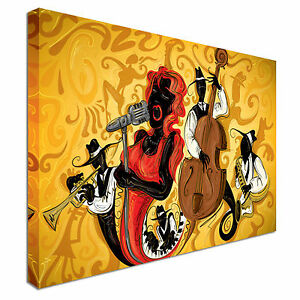 Details About Stunning Abstract Jazz Band Canvas Wall Art Picture Print