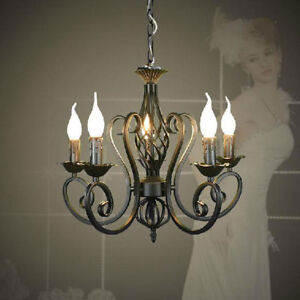 Details About Vintage E14 Re Candles Lights Black Wrought Iron Chandelier Pendant Lamp