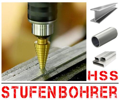 Profi HSS Titan Stufenbohrer  Ø 4-32mm Schälbohrer Konusbohrer Spiralbohrer XT