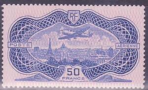 FRANCE-STAMP-TIMBRE-POSTE-AERIENNE-15-034-50F-BURELE-ROSE-034-NEUF-LUXE-VALEUR-1500